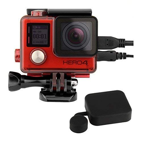 SOONSUN Side Open Protective Case Skeleton Housing Shell with LCD Touch Backdoor and Silicone Lens Cap for GoPro Hero 4, Hero3+, Hero 3 Camera – Transparent Red