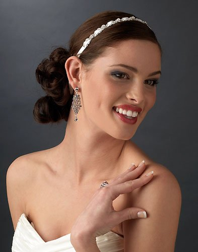 USABride Ribbon Wedding Headband Bridal Satin & Crystal 739IV