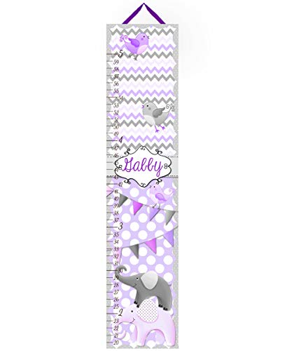 Toad and Lily Canvas GROWTH CHART Purple Grey All Creatures Big Small Girls Bedroom Baby Nursery Wall Art GC0037