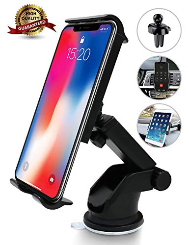 Cell Phone Holder for Car, Car Phone Mount Windshield Long Arm Car Phone Mount with One Button Design Anti-Skid Base Universal Car Phone Holder Compatible with iPhone Xs Max Galaxy,Huawei,Google,iPad