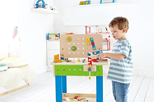 41beRyKTJtL - Hape Master Workbench by Award Winning Kid's Wooden Tool Bench Toy Pretend Play Creative Building Set, Height Adjustable 32 Piece Workshop for Toddlers