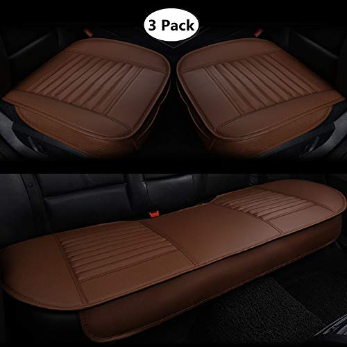 HCMAX Four Seasons Car Interior Seat Cushion Cover Edge Wrapping Pad Mat for Auto Car Supplies PU Leather Bamboo Black 2 Pack