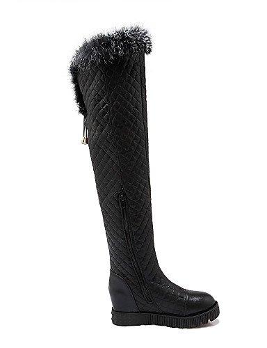 Golden A Moda Nieve Plataforma Zapatos Cn39 Eu39 Xzz Plata us8 La Mujer Semicuero negro Botas Casual Vestido De Uk6 Redonda Punta w8awvXqR