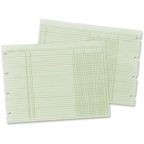 Wilson Jones Green Columnar Sheets, Single Page Format, 3...