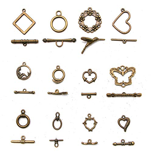 (JETEHO 12 Sets Mixed 12 Shapes Charms Antique Bronze Alloy Toggle Clasps Connectors Jewelry Findings)