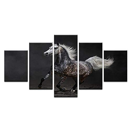 Fbhfbh Canvas Painting Modern Frames Art Live Wall Decoration Modular Pictures 5 Panels Animal Horse Landscape Oil Painting Decoration -8 x 14/18/22inch,with Frame -