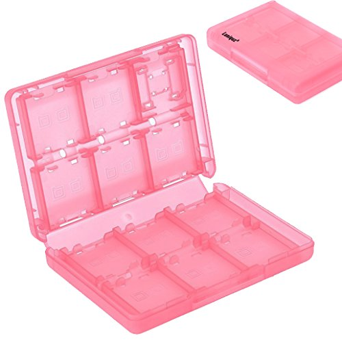 Luniquz 26 in 1 DS Game Holder Game Card Carry Case for Nintendo DS, DS Lite, 3DS, New 3DS, Dsi, Dsi XL/Pink