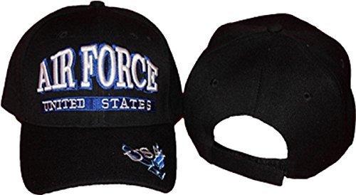 3d Logo Hat (Black Embroidered USAF Air Force 3d Letter Blue Wings Emblem Logo Baseball Hat Cap Cover (licensed) by Novelty Stores Online )