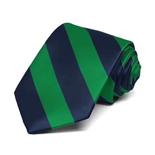 - TieMart Boys' Kelly Green and Navy Blue Striped Tie