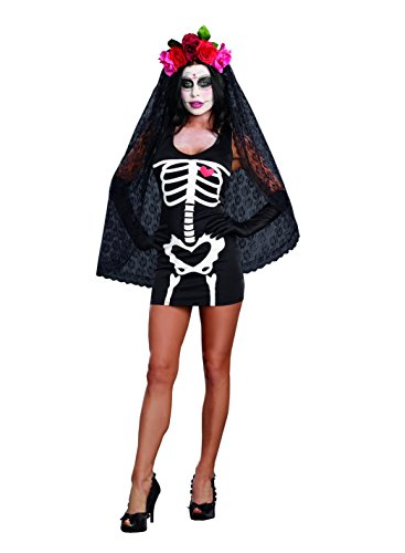 Dreamgirl Women's Sexy Skeleton Print DIY Costume Starter Dress, Black, Large -