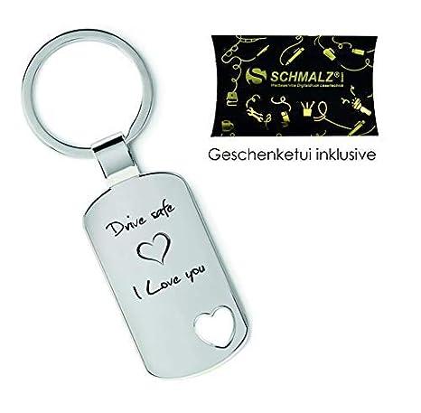 Schmalz® Schlüsselanhänger aus Metall Modell PASS AUF DICH AUF