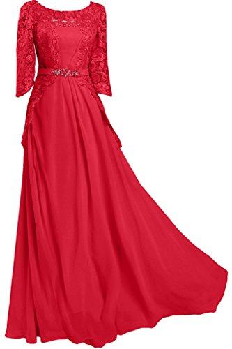 Aermel Damen Ivydressing amp;Spitze Rundkragen Abendkleid Rot Ballkleid Promkleid Halb Chiffon Lang qEffRgw