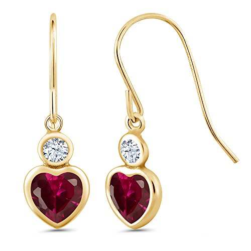 Gem Stone King 1.42 Ct Heart Shape Red Created Ruby 14K Yellow Gold Earrings ()