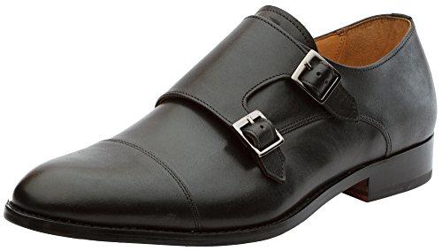 3DM Lifestyle Mens Toe Cap Double Monk Strap Modern Classic Dress Shoes Black