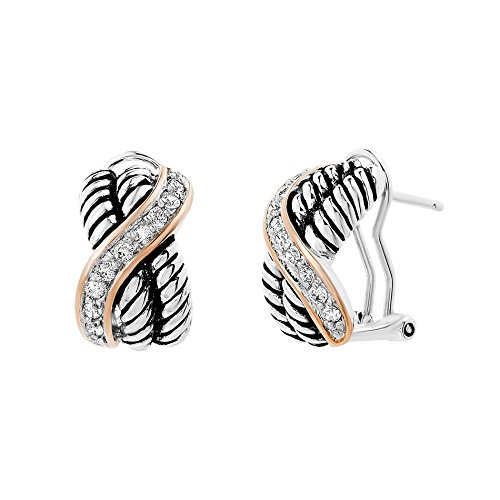 Glitter Coat Ribbed Wavy Design Clip Post Earring