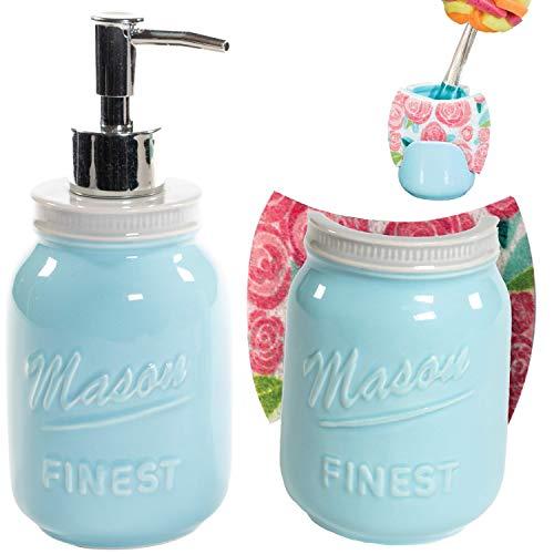 Sparrow Decor Mason Soap Pump & Sponge Holder Set (Blue)