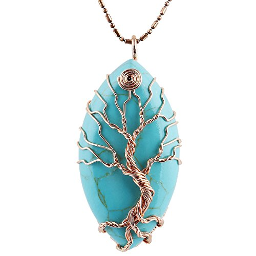 TUMBEELLUWA Tree of Life Pendant Necklace, Healing Crystals Jewelry for (Grams Stone Pendants)