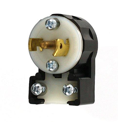Leviton ML3-AP 15 Amp, 125/250 Volt, Non-Grounding, Locking Plug, Industrial Grade, MiniLock Angle, Black-White