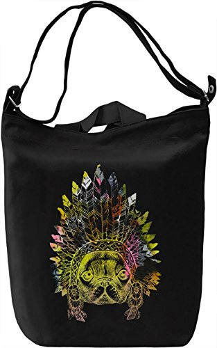 Indian Pug Borsa Giornaliera Canvas Canvas Day Bag| 100% Premium Cotton Canvas| DTG Printing|