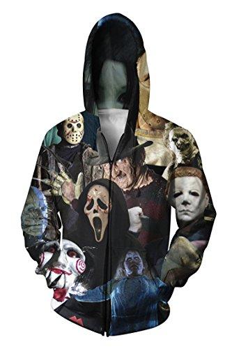 R-deer Trendy Cinema Killers Print Long Sleeve Zip Up Hoodies Sweatshirts Outfit, XX-Large, Pattern 11 ()
