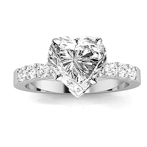 2 Ctw 14K White Gold GIA Certified Heart Cut Classic Prong Set Diamond Engagement Ring, 1 Ct I-J VVS1-VVS2 Center