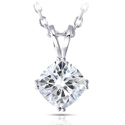 14K White Gold 2ct 7.5mm GH Color Cushion Moissanite Solitaire Pendant Necklace for Women