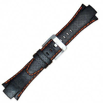 Seiko Sportura Leather Band (15mm, Black, Orange Stitching, 4KG1JZ)