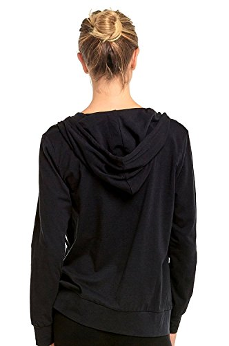 Sofra Teejoy Women's Thin Cotton Zip Up Hoodie Jacket (Large, Black/CharcoalGrey) by Sofra (Image #3)