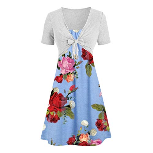 Caopixx Sets for Women Clothing Casual Solid Bow Knot Tops Flower Print Dress Two Piece Suits Blue