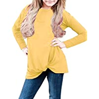 Sidefeel Girls Casual Long Sleeve Knot Front Tee Loose Top Size 4-13 Years Old