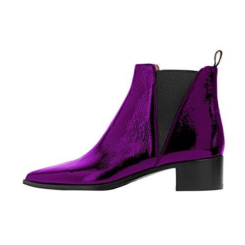 2b61810b367 Fsj Femmes Chic Fermé Orteil Imperméable Chelsea Bottines Chunky Talons Bas  Confortables Chaussures Taille 4- ...