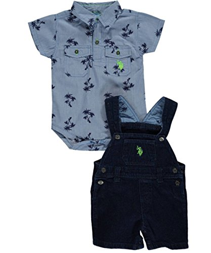 US Polo Assn Baby Boys Blue & White 2pc Denim Shortall Set