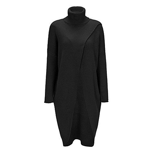 BCDshop Women's Fashion Turtleneck Sweater Outwear Asymmetric Hem Long Sleeve Blouse(Black,L) -