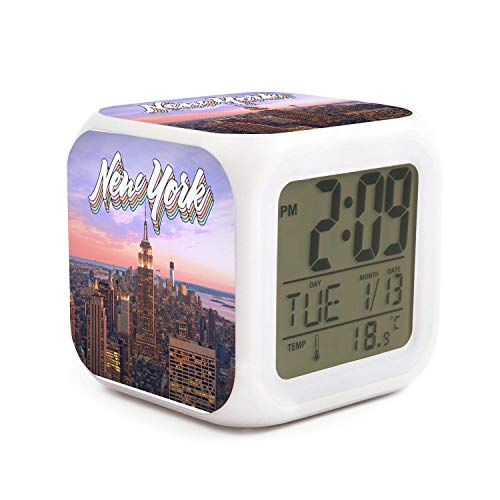 DHBVNMQHHT Alarm Clock Wake Up Bedroom with Data and Temperature Display (Changable Color) Size L8cm x W8cm xH8cm New York Color