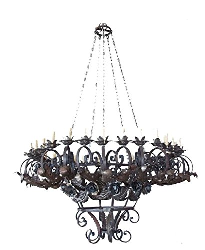 Egypt gift shops Rusty Large Over Size Entry Foyer Hall Hand Forged Wrought Iron Chains Scrolls Multi Candles Lights Lamp Chandelier (Multi Chain Wrought Iron)