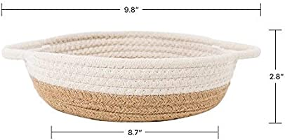 Keys Woven Storage Basket Desk Basket Containers for Jewellery Hemp Rope Bowl Goodpick 2pack Cotton Rope Basket 9.8 x 8.7 x 2.8 Small Rope Baskets for Kids Home Decor Toy Basket Organizer
