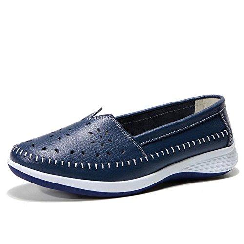 Zapatos de Mujer Zapatos de Guisantes 2018 Zapatos Ocasionales de Verano Zapatos cómodos de Las señoras Zapatos de Guisantes Zapatos Antideslizantes Individuales (Color : Azul, tamaño : 37)