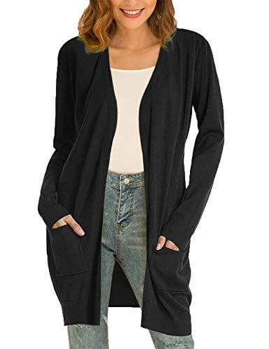 CPOKRTWSO Womens Long Sweaters Cardigans Boho Long Sleeve with Pockets Black S