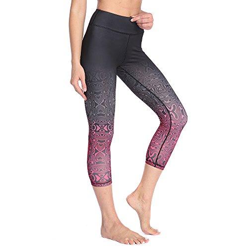 SOUTEAM Women's Workout Capri Pants Printed Active Workout Yoga Leggings with Hidden Pocket