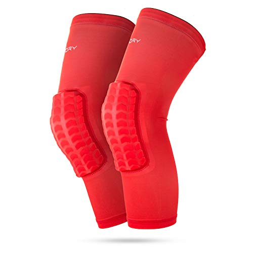 RoryTory Padded Compression Legs Sleeves Knee Pads Brace Support for Basketball Football Volleyball Baseball Soccer Tennis Sports Protection Men Women Adults - (1 Pair) Medium Size | Solid Red