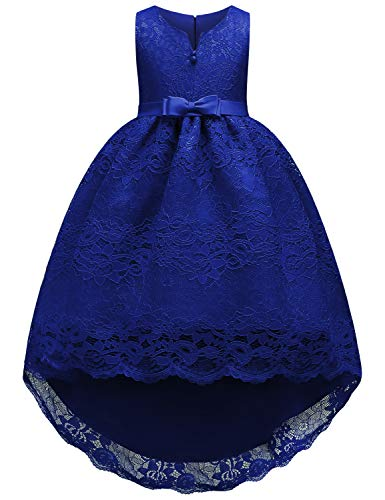 JOYMOM Gowns for Girls, Kids Flare Round Neck Tulle and Mesh Embroidered Floral Pattern High-Low Dresses Prom Ball Dress Fancy Big Bow tie Long Train First Communion Dress Blue 160(11-12Y) -