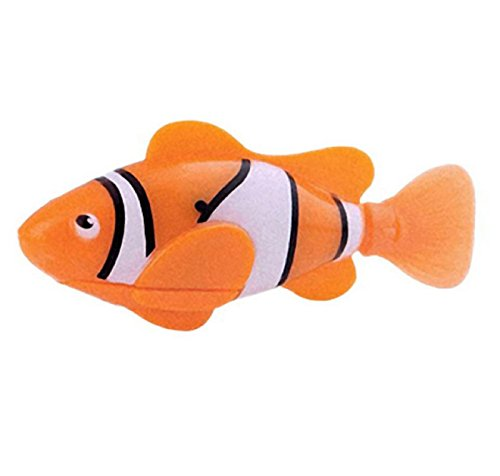 New Arrival Funny Swim Electronic Robofish Activated Battery Powered Robo Toy fish Robotic Pet for Fishing Tank Decorating Fish (Orange Color)