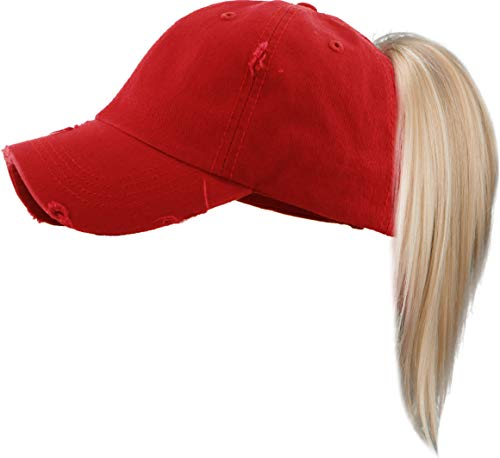 H209KIDSSD42 Kids Messy Bun Pony Tail Hat  Distressed  Solid Red