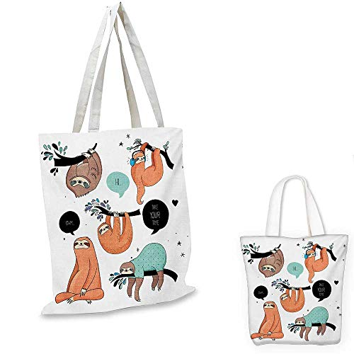 Animal canvas shoulder bag Cartoon Style Illustration Tribe of Sloths Smiles Sleeping Lazy does Yoga with Quote canvas lunch bag Multicolor. 12