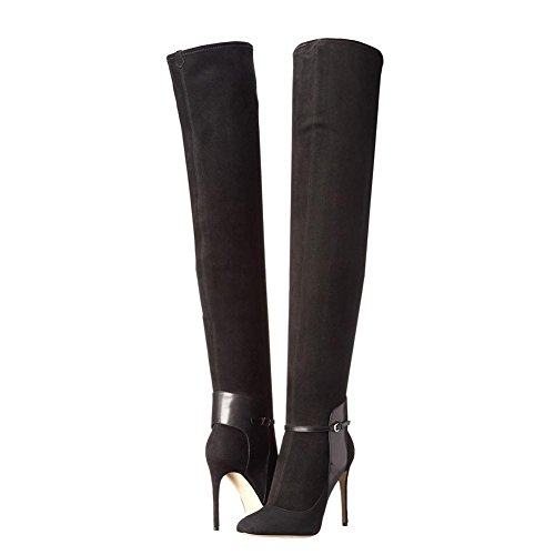 High Heels Knee YC Office Comfort Winter amp; Toe L Boots Fashion Women's Career Evening Boots Black amp; Party Casual 8tzqPCw