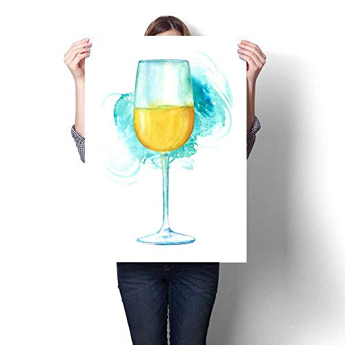 Anshesix Canvas Print Wall Art Watercolor Drawing of Glass of Wine with Teal Brush Stroke Artwork for Wall Decor 20