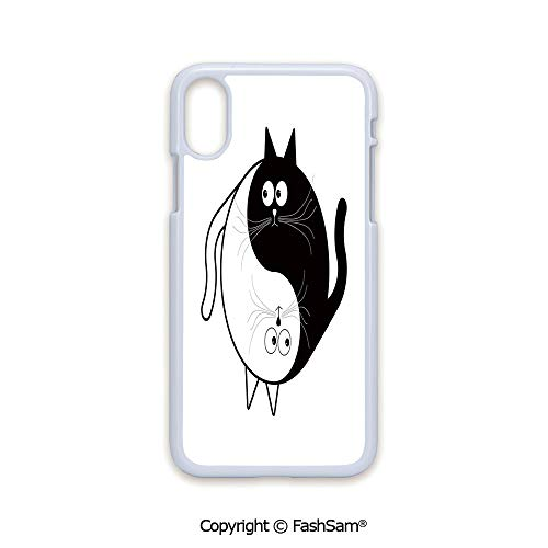 Plastic Rigid Mobile Phone case Compatible with iPhone X Black Edge Cute Cats Cuddle Hugging Unity Ying Yang Sign Cartoon Animals Asian Feng Shui 2D Print Hard Plastic Phone Case (Ying Yang Animated)