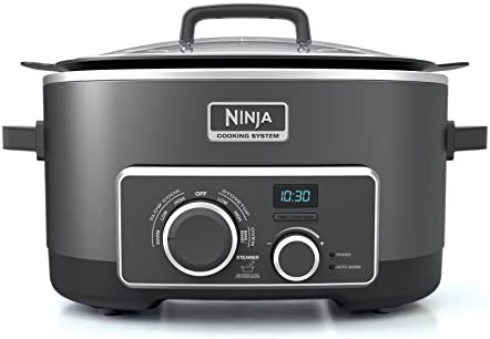 Ninja Multi-Cooker with 4-in-1 Stove Top, Oven, Steam and Slow Cooker Options, 6-Quart Nonstick Pot, and Steaming Roasting Rack MC950Z , Black