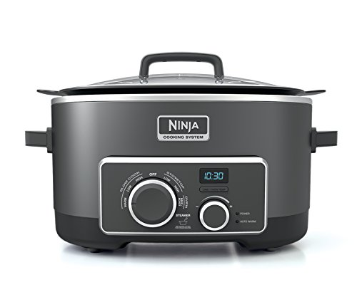 - Ninja Multi-Cooker with 4-in-1 Stove Top, Oven, Steam and Slow Cooker Options, 6-Quart Nonstick Pot, and Steaming/Roasting Rack (MC950Z), Black