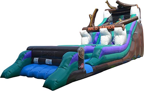Great White Wild Slide - TentandTable 38-Foot Long by 11-Foot Wide Wild Rapids Water Slide, Commercial Inflatable Backyard Bouncer, with Stakes and 1.5 HP Zoom Blower